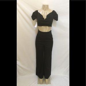 NWOT Free People Size 4 Black Crop Top & Pants Set